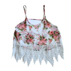 audrey oversized strappy floral lacey crop top
